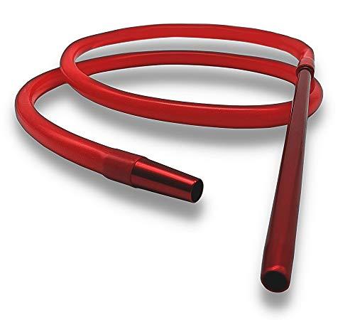 DOJA Barcelona | Manguera Cachimba | 185 cm | Color Rojo | Mangueras de Silicona para Shisha Hookah | Tubo con extremo de Aluminio para Cachimba Shisha, Pipas de fumar, pipas de agua para fumar.
