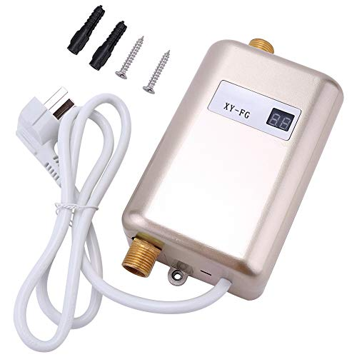 Duokon 220V 3800W Mini Chauffe-Eau électrique sans réservoir Chauffe-Eau instantané Salle de Bains Cuisine Lavage(Noir)