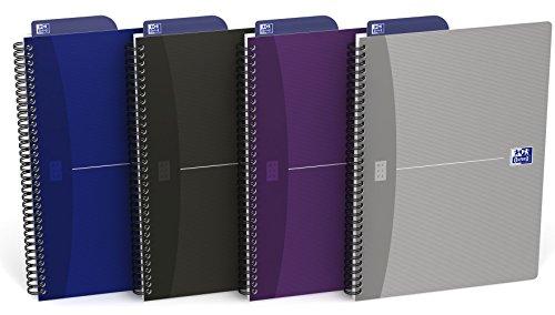 OXFORD 400090614 Spiralbuch im Tablet-Format B5 mit Lesezeichen-Lineal 90 Blatt punktkariert 5er Pack mit 4 Farben sortiert: smart black, original blue, violett, silber