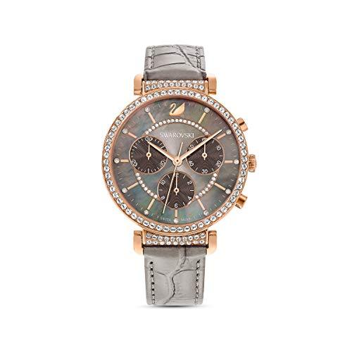 Swarovski Reloj Passage Chrono, Correa de Piel, Gris, PVD tono Oro Rosa