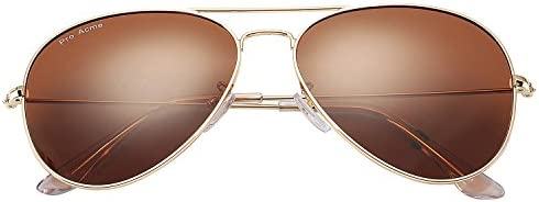 Pro Acme PA3026 Large Metal Polarized Aviator Sunglasses with Eyeglasses Case Brown product image