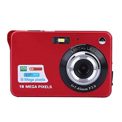 VBESTLIFE 2,7-Zoll Digitalkamera, Kinder Kamera mit 8-fachem Digitalzoom, 1080P HD Kamera Unterstützen für 32 GB,Studentenkamera Indoor Outdoor für Erwachsene/Senioren/Kinder/Gift.(rot)