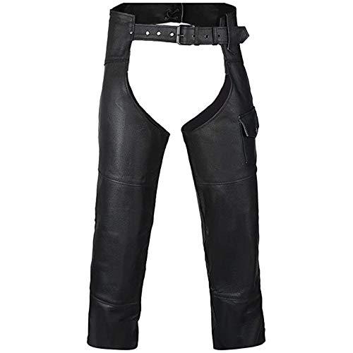 Caige Pantalon de Chaps en Cuir de Moto pour Hommes,Noir,M