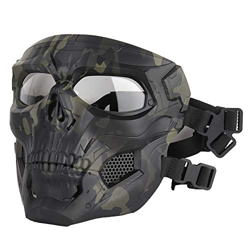 ATAIRSOFT Schädel Airsoft Integralhelm Maske Horror CS Halloween Schutz Maskerade Party Cosplay Outdoor Taktische Maske (MCBK)
