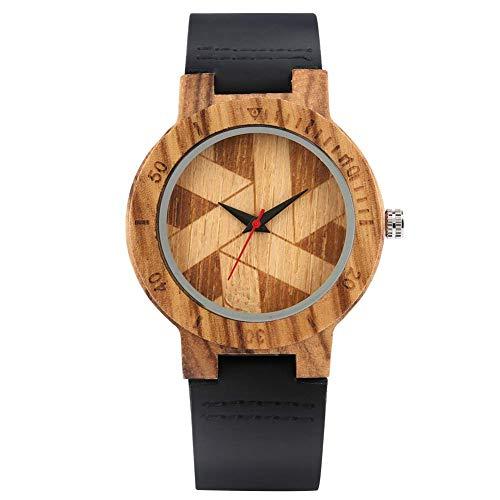 XYSQWZ Schöne Quarz Ebenholz Holzuhr Für Männer Bequeme Lederarmband Holzuhren Für Jungen Faszinierende Geometrische Schnittmuster Zifferblatt Holz Armbanduhr Für Männer