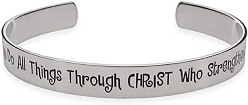 EVE'S ADDICTION Stainless Steel Inspirational I Can Do All Things Through Christ Psalm Cuff Bracelet, Women's