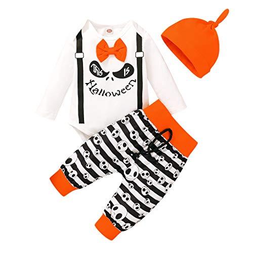 Webla - Traje infantil de Halloween para niños y niñas, diseño de animado, traje de Halloween + pantalón + traje de sombrero blanco 6-9 Meses