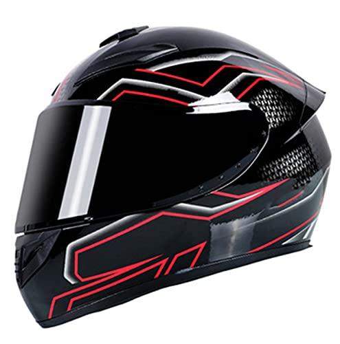 HAOYUNLAI Cascos De Motocicleta Dot Certificado para Adultos Hombres Mujer Mujer Full FACTAL Street Moto Bici Casco Dual con Visor,Red Lightning,XL