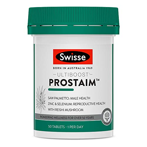 Swisse Ultiboost ProstAim Supplement for Men | Supports Prostate Function | Zinc, Selenium & Saw Palmetto | 50 Tablets