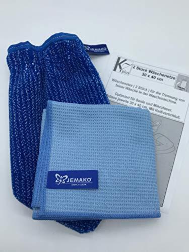 Jemako® Set BLAU, Handschuh + Trockentuch 40 x 45 cm, Fenster/Haushalt/Glas, 2 Stück K7plus® Wäschenetz/Wäschesack
