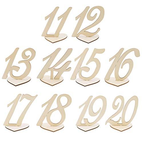 Amosfun 10Pcs Holztisch Nummern 11-20 Halter Basis Tischnummern Tabelle Zeichen Tischdekoration für Geburtstagsfeier Hochzeit