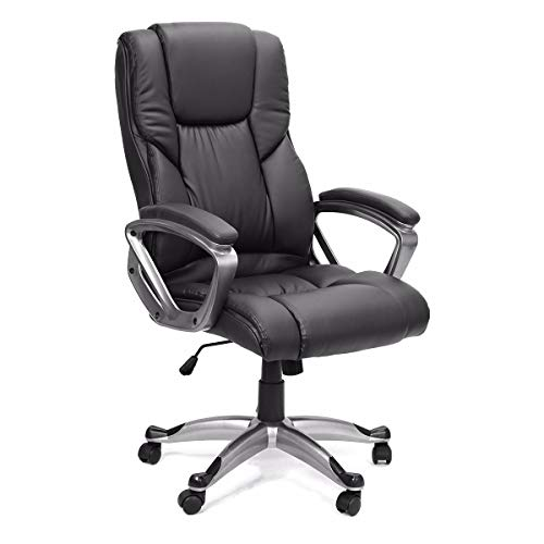 Executive Office Chair with PU Leather Back Support Big&Tall High-Back (Black)