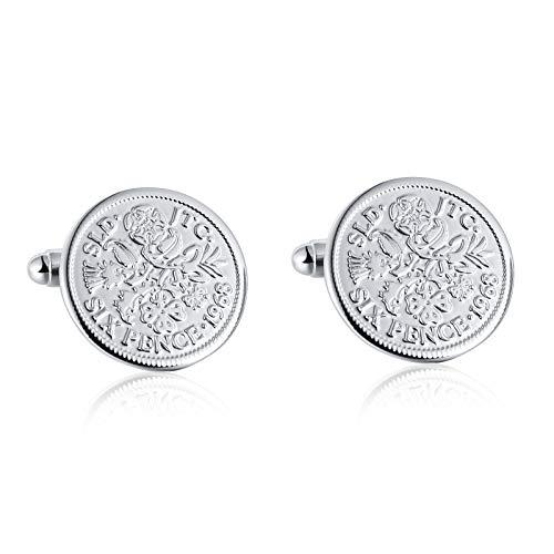 SonMo 1 Paar Edelstahl Manschettenknöpfe Herren Round Six Pence Silber Elegante Manschettenknopf für Business Schmuckstück für Männer 1.9X1.9CM