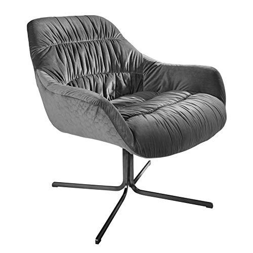 Invicta Interior Design Relax-Sessel Big Dutch grau Samt mit Armlehnen Retro Stil Bürostuhl Stuhl