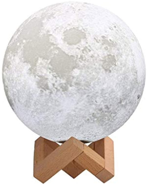 YUBIN Mondlampe, Wiederaufladbares Mond-LED-Nachtlicht, Augenschutz, Verstellbare Helligkeit Und Farben, Für Schlafzimmer (gre   8cm)