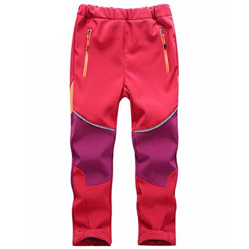AIWUHE Unisex Kinder Softshellhose Junge Skihose Mädchen Schneehose Gefütterte Hose mit Wasserdichter Funktion (Rot/Lila, 120/Referenz Höhe:110-120cm)