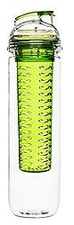 Sagaform drinking bottle with fruit insert, plastic, transparent / green, 7x7x28 cm