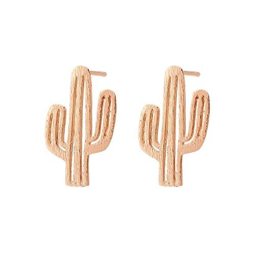 Selia Kaktus Ohrring Mexiko Ohrstecker Wüste Statement Sommer minimalistische gebürstete Optik handgemacht (Rosegold)