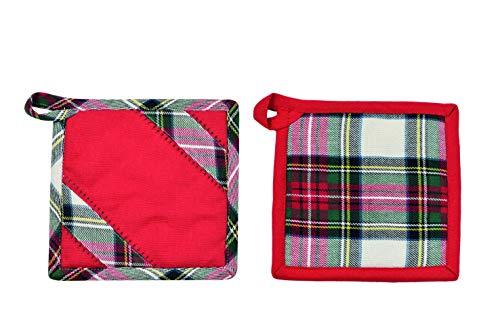 PREZIOSA LUXURY Set due presine da cucina forno rosse Natale TARTAN.pR-Rosso