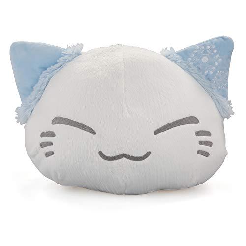 Nemu Nemo Neko Kuscheltier Katze Weiss, Blaue Ohren mit Schnee Manga Anime Otaku Kawaii Stofftier Plüschtier Plush Cat Merchandise zum Kuscheln Original aus Japan Höhe 25cm und Breite 34cm