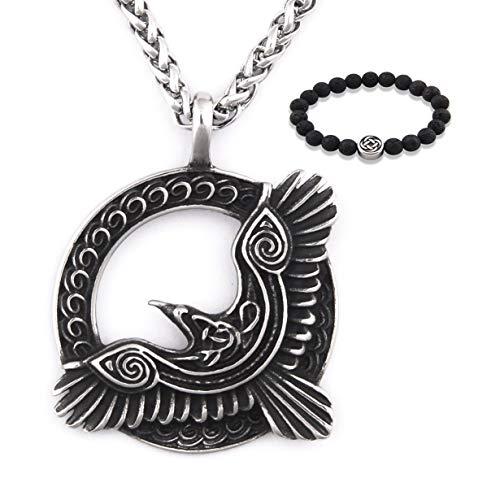 Gungneer Celtic Raven Necklace Pendant Power Symbol Protection Talisman Myth Irish Jewelry Accessory Men Women