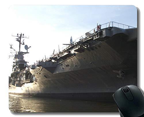Mauspad mit genähtem Rand, Militär USS Intrepid (CV 11) Warship-Mauspad, Rutschfeste Gummibasis Mousepad