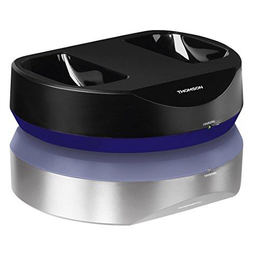 Thomson Kabelloser Over-Ear Bluetooth Kopfhörer mit Ladestation (für HIFI/Smartphone/Tablet/PC, Telefonie- und Remotefunktionen, VOIP, 12h Betriebszeit) Wireless Headphones schwarz