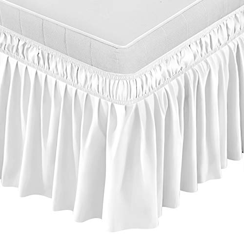 BIGTONE Bed Skirt Wrap Around Elastic Dust Ruffles Solid Color Wrinkle and Fade Resistant with Adjustable Elastic Belt 15 Inch Drop,Queen Size Bed,White