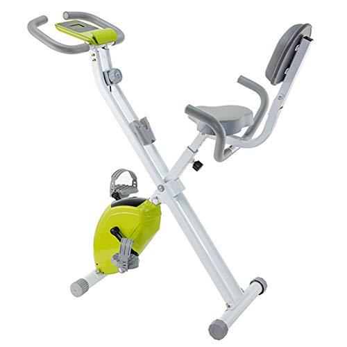 Weiyue Bicicleta estática Plegable Estacionario Bicicleta Ciclismo Entrenador Entrenamiento Cardiovascular con Nivel de Resistencia Ajustable y Pantalla LED, hasta 120 kg-Verde 77 x 55 x 134 cm