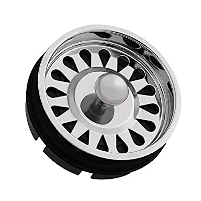 Kitchen Sink Stopper with Basket Strainer for Waste King Disposals, 2 in 1 Use Garbage Disposal Replacement Part for Kitchen Sink Drain, 1-3/8 Inch, Stainless Steel