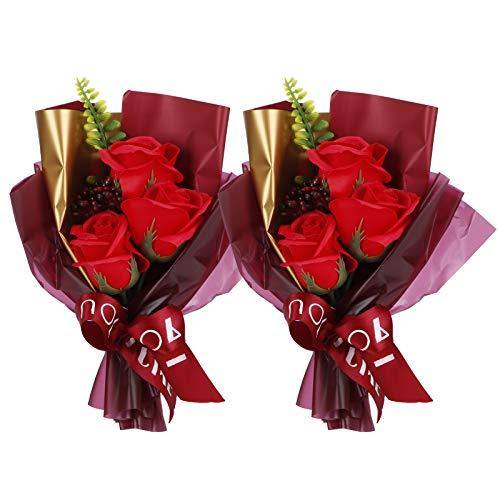 Cuque Rosas de jabón, Flor Artificial 2 Juegos de fragancias Encantadoras para decoración de Interiores día de San Valentín(Red)