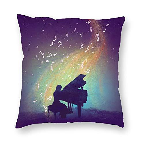 Funda de almohada sin marca de doble cara impresión niña tocando piano debajo de las hermosas estrellas funda de cojín corto de felpa con cremallera oculta cómoda cuadrada para salón sofá cocina 18 x 18 pulgadas