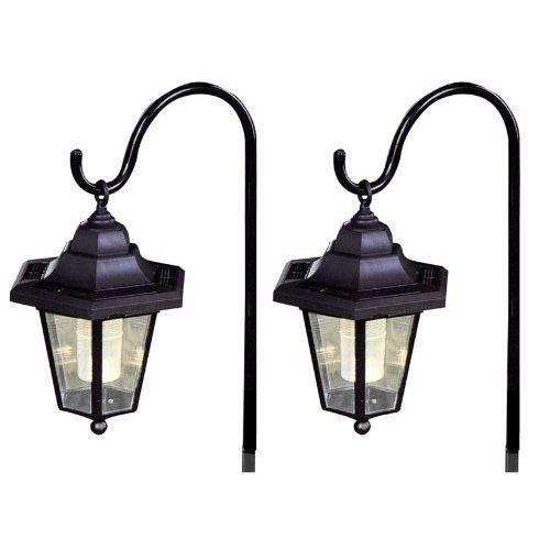 Unibos Set of 2 Solar Classic Led Shepherd Hanging Garden Lanterns Coach Outdoor Lamp Lights