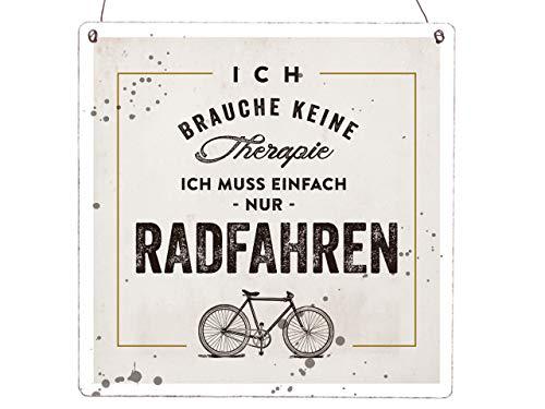 Interluxe XL Holzschild Vintage Shabby ICH Brauche Keine Therapie Radfahren Fahrradschuppen Rennrad Mountainbike Fahrrad