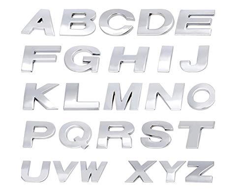 """Fully 1X 2.5CM/0.98\"""" DIY 3D Metall Aufkleber Emblem Buchstaben Nummer Zeichen Selbstklebenden für Auto Laptop Motorrad (Silber, D)"""