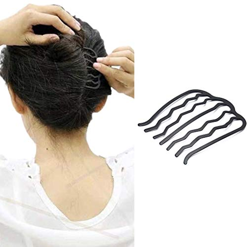 JONKY Vintage Alloy Paint U Shape Black Hair Side Combs Hair Tools for Hairstyle Hair Accessories Hair Side Combs Updo Combs Work Party Gifts for Women and Girls (Black)