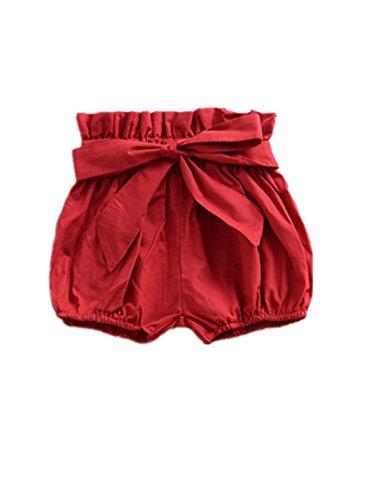Hasaki Baby Rüschen Bloomers – Kleinkind Mädchen Floral Bowknot Shorts Gr. 100 cm(2-3 Jahre), rot