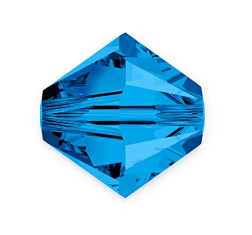 100pcs Authentic 3mm Small Swarovski Crystals 5328 Xilion Bicone Crystal Beads for Jewelry Craft Making (Capri blue) SWA-b325