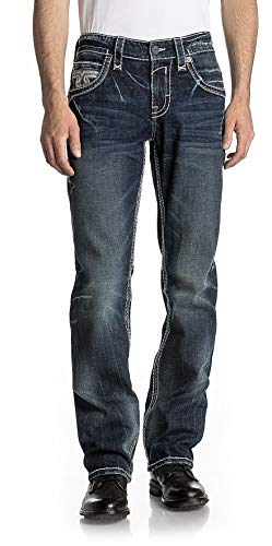Rock Revival - - Karel J202 - Gerade Jeans für Herren, 40, Denim