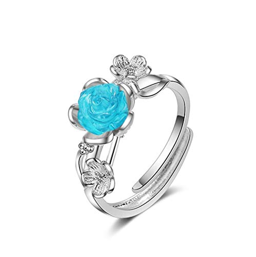 Wiftly Women's / Girls' Rings Silver 925 Fashion Blue Rose Flowers Open Partnership Rings Wedding Engagement Ring Solitaire Ring Band Ring Adjustable