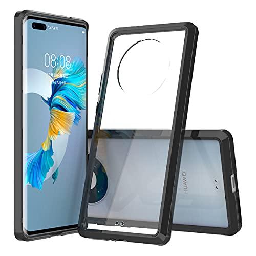 Compatible con el Estuche Huawei Mate 40 Pro [Anti-Amarilleo] Marco de Silicona TPU Transparente Parachoques Cubierta de la Caja del teléfono a Prueba de Golpes para Huawei Mate 40 Pro (Negro)