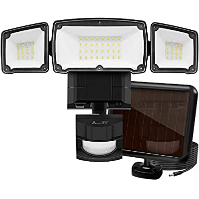 Solar Lights Outdoor, AmeriTop Super Bright LED Solar Motion Sensor Lights with Wide Angle Illumination; 1500LM 6000K, 3 Adjustable Heads, IP65 Waterproof Outdoor Security Lighting (Black)