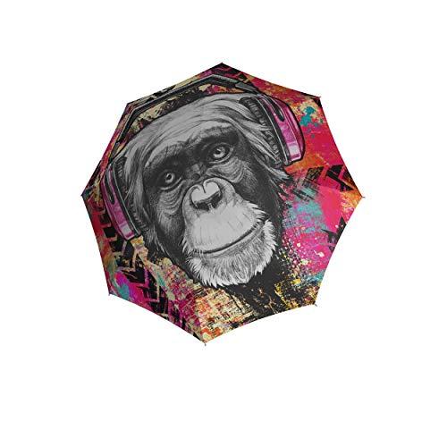 Ombrello tascabile doppler Modern Art Magic Mini, molto leggero, automatico, design Monkey,...