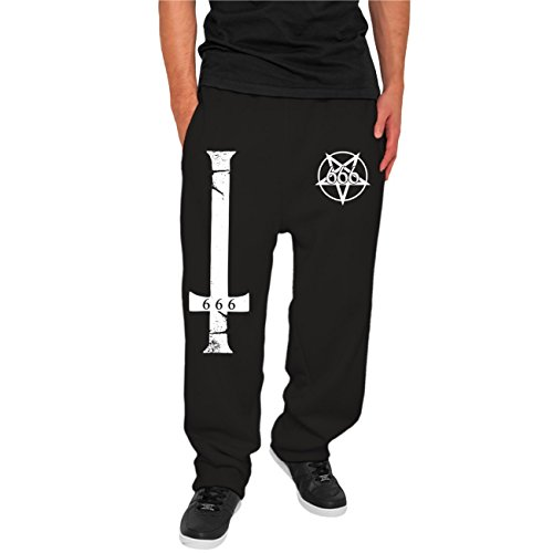Spaß kostet Männer und Herren Jogginghose Trainingshose Kreuz Pentagram 666 Größe XS - 5XL