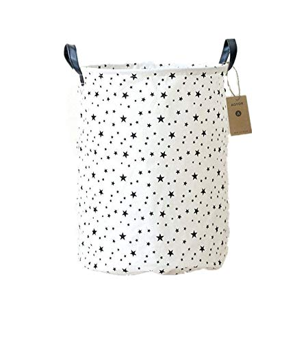 AOBOR Kids Laundry Canvas Basket Toy Storage Bin Fabric Nursery Hamper Large Laundry with Handle,Collapsible & Convenient (Stars)