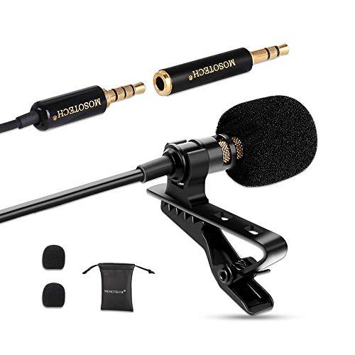 MOSOTECH Microfono Lavalier, Microfono a Condensatore Omnidirezionale con Clip, Microfono Professionale per iPhone/iPad/Android/PC/Windows/Fotocamera/Tavoletta