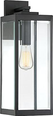 "Quoizel WVR8407EK Westover Modern Industrial Outdoor Wall Sconce Lighting, 1-Light, 150 Watt, Earth Black (20""H x 7""W)"