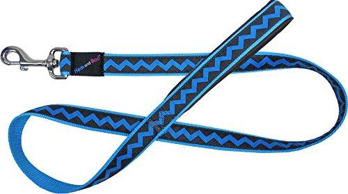 Hem en Boo DL4609 Zig Zag Design Hond Lead, L, Blauw en houtskool