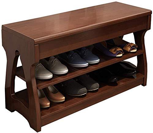 Zapato banco de almacenamiento con asiento de madera maciza de diseño de la cubierta Estante de almacenamiento de 2 capas zapatero Inicio Banco de zapatos Adecuado for sala de estar, pasillo, baño que
