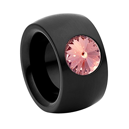 Heideman anillos mujer de acero inoxidable color negra anillo mujer con joyería